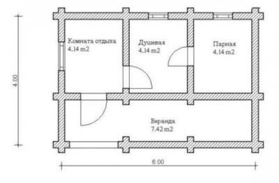 Так может быть распланирована баня из бруса 6х4.