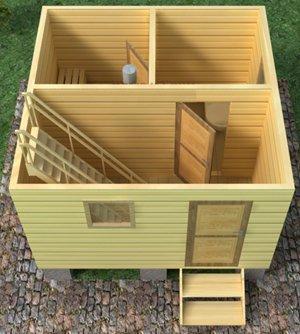 Трехмерный вид сверху, без крыши, снимает все вопросы – баня с мансардой 5х4 предстаёт, как на ладони