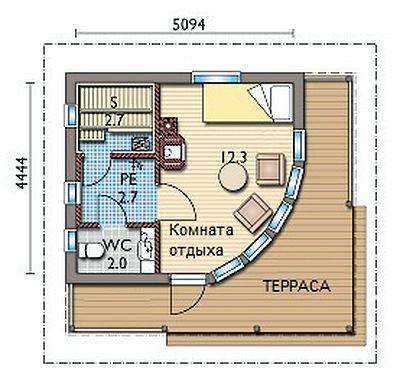 Угловая баня 5х5 с террасой: компактное решение, которое можно реализовать и в качестве пристройки