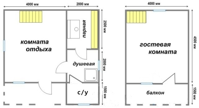 Вариант проекта бани 6х6м.