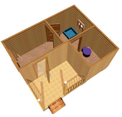 Визуализация здания, построенного из бруса.