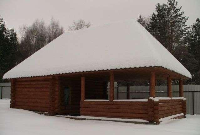 фото бани с беседкой под одной крышей