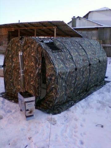 Всесезонная палатка с полевой мобильной баней.