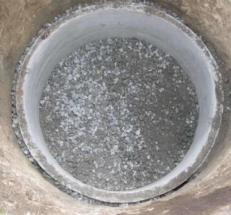 Выкопанная яма с укрепленными стенами и краями