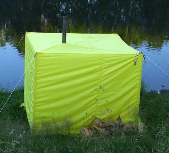 Заводская палатка баня с печкой