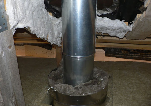Асбест – огнеупорный утеплитель отлично подходит для утепления вокруг дымохода.