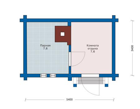 Баня 5х3 может и не иметь предбанника, зато большая экономия площади и возможность лучше обустроить два других помещения (проект «Е»)