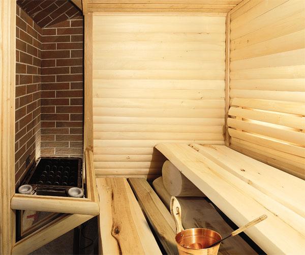 Баня из шлакоблоков отделанная изнутри и снаружи смотрится дорого и презентабельно