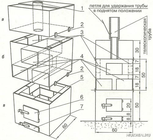 Чертеж секционного устройства, для изготовления которого вместо квадрата можно использовать трубу