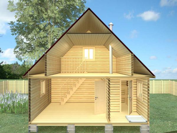 Деревянный дом с баней в разрезе