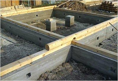 Для деревянной постройки очень важна нижняя обвязка стен фундамента брусом.