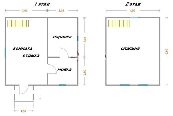 Двухэтажная баня 2 на 5 на 2 на 5