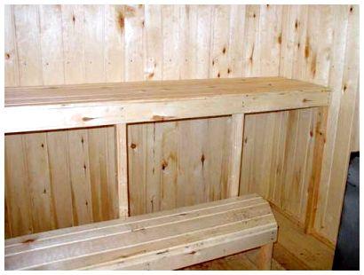 Двухъярусные скамейки незаменимы в парильнях.