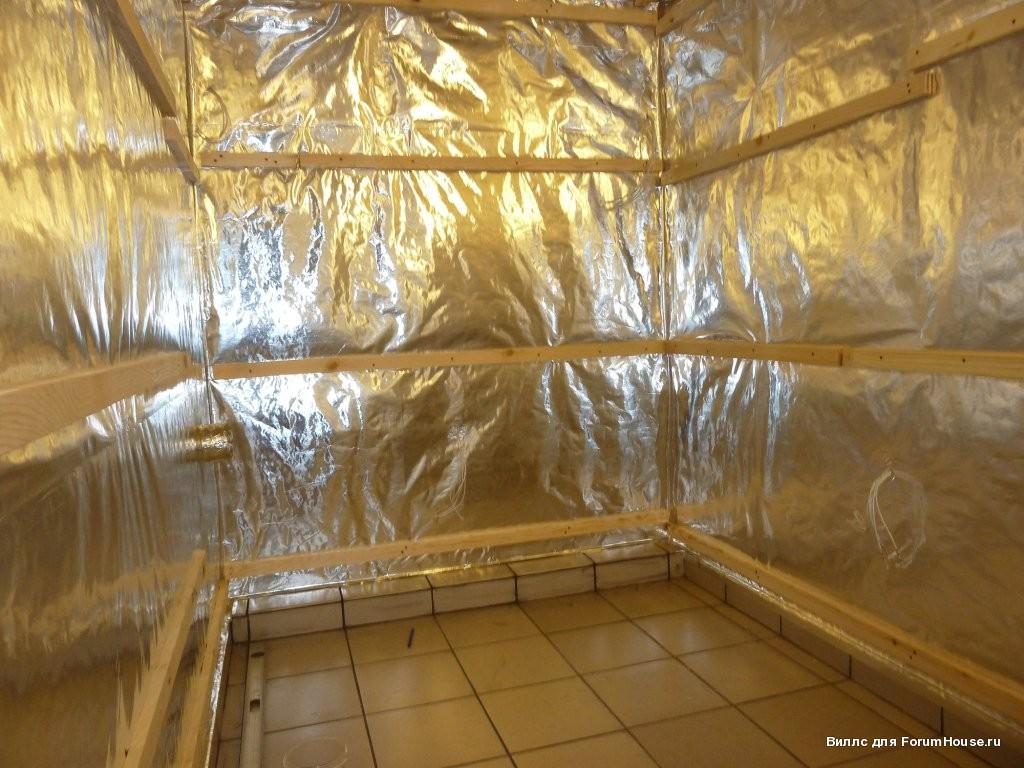 Между слоем теплоизоляции оставляйте пустое место, чтобы не скапливался конденсат на стенах