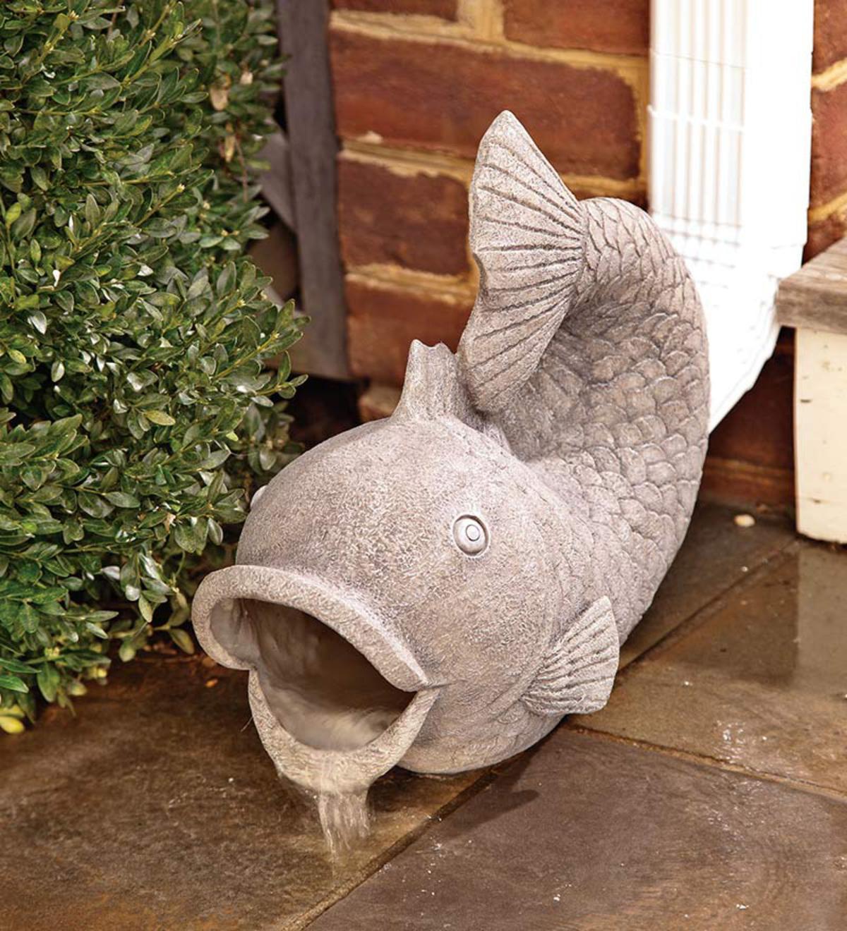 Фигуры рыбы в водостоке освежает участок