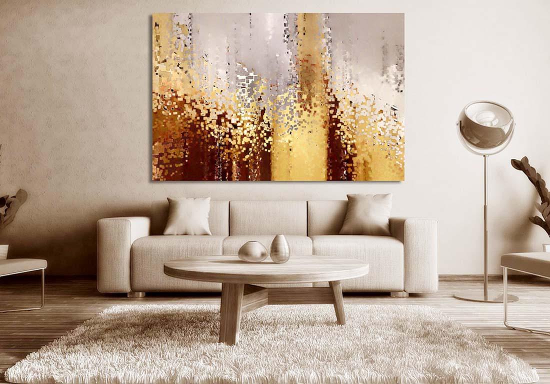 Картина над диваном в интерьере гостиной.