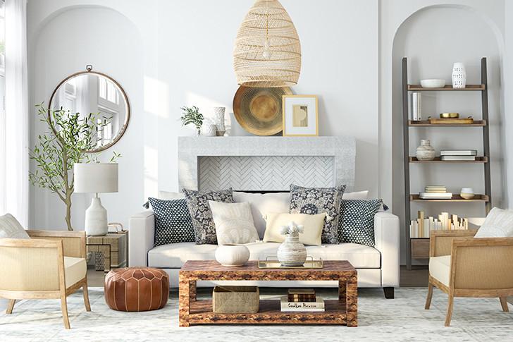 Классическая гостиная в пастельных тонах, кожаный пуф, коричневый мрамор столик, круглое зеркало со светлой стороны