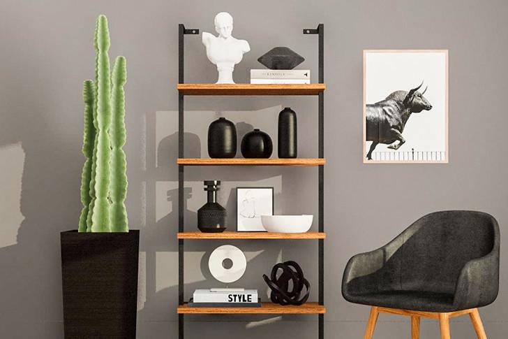 Этажерка с полками освободит от предметов часть пространства и послужит украшением вашего помещения