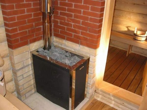 Фото металлической печи-каменки для парной комнаты