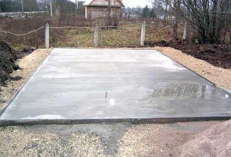 Фото монолитной бетонной основы под баню.