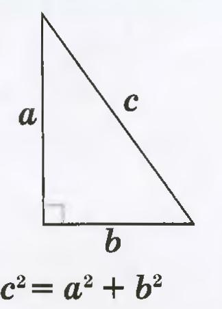 Графическое изображение теоремы Пифагора, где для нашего случая a и b – смежные стены, c – диагональ между соседними углами