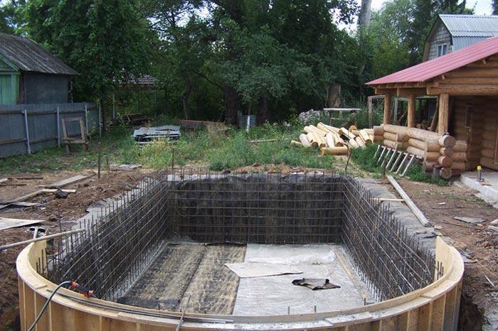 Армирующая сетка в фундаменте бассейна