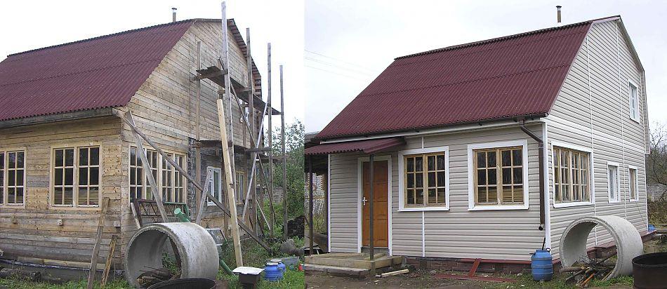 Фасад дачного домика до и после ремонтных работ