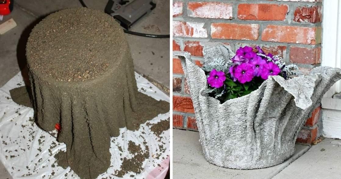 Уличное кашпо из цемента и ткани