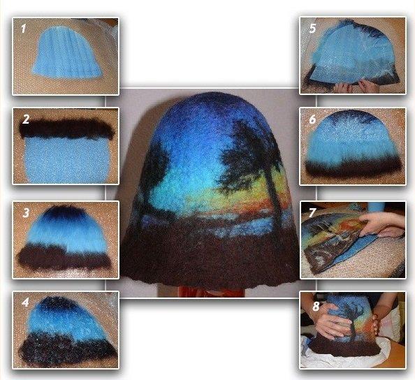 Как свалять из шерсти головной убор для бани