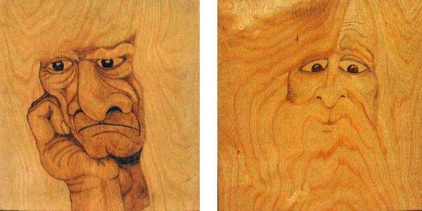 Картины, созданные на основе подчеркивания древесной фактуры.