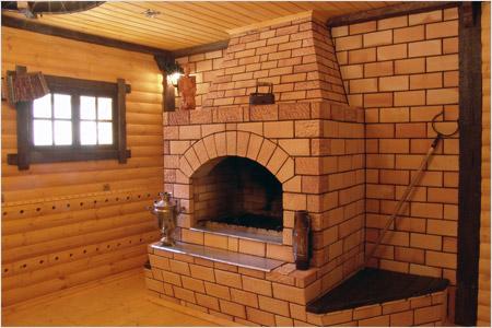 Классическая кирпичная печь для банного помещения