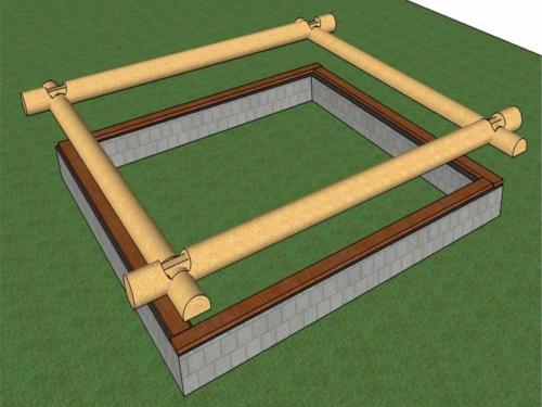 Ленточный фундамент, выше - обвязка, потом - венец