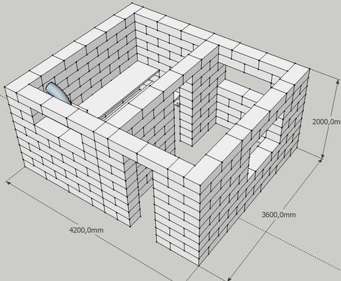На фото – проект бани из строительного блока, воссозданный на компьютере