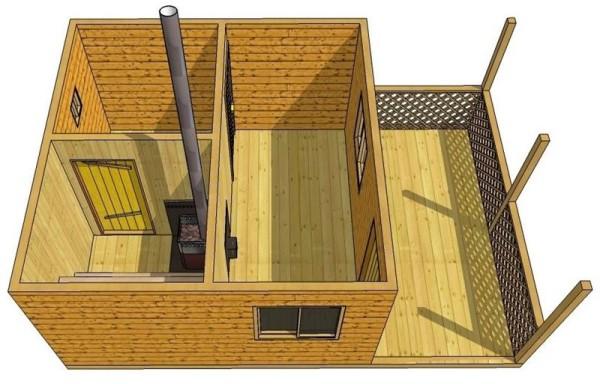 На фото – вид сверху деревянной бани с верандой