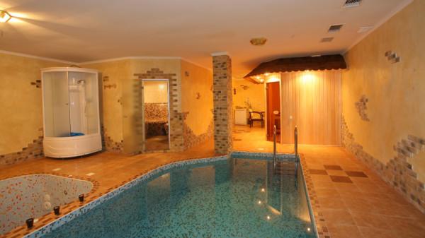 На фото демонстрируется помещение с бассейном и сауной.