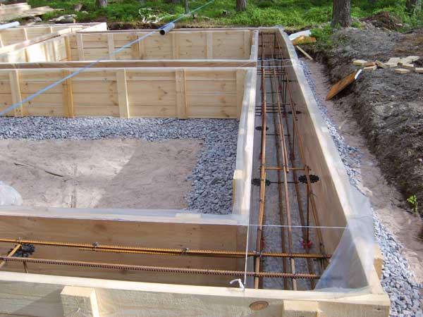 На фото ленточный фундамент с опалубкой, готовый к заливке бетоном