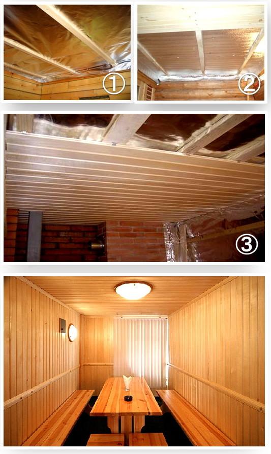 На фото: отделка вагонкой потолка и стен