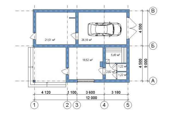 На фото показан пример планировки помещений бани, объединенной с гаражом.