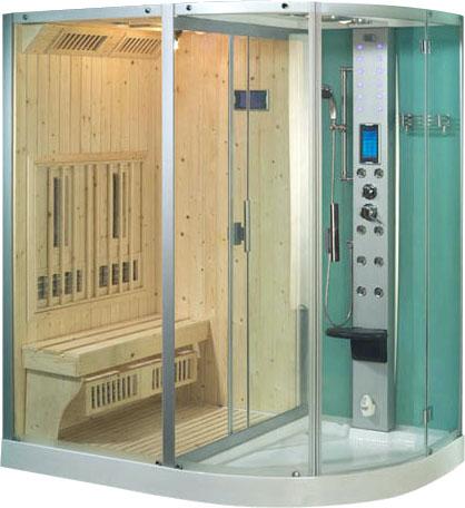 На фото показан пример совмещенной инфракрасной сауны с душевой кабиной