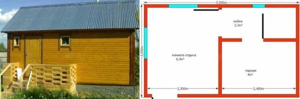 На фото слева пример реализованного типичного проекта с ленточным фундаментом – конфигурация комнат стандартная, отсюда и цена в пределах 250 тысяч (проект «В»)