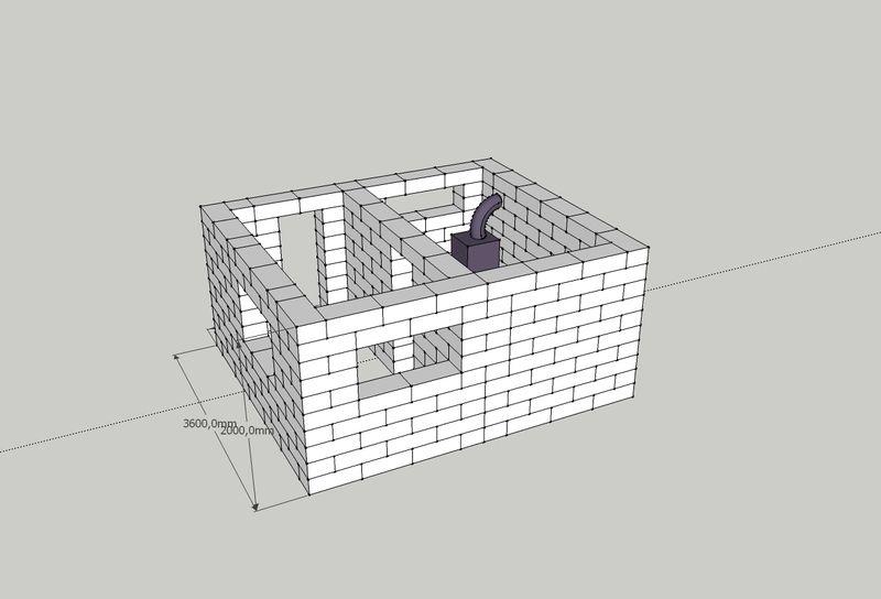 высота бани из блоков