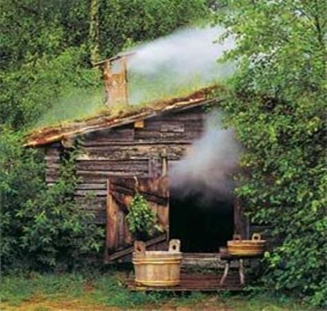 На фото видно, как дым выходит из всех открытых отверстий бани.