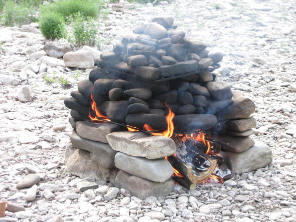Нагрев камней с помощью открытого огня