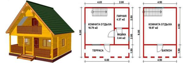 Некоторые проекты бани 6х6 предполагают наличие мансардного этажа.