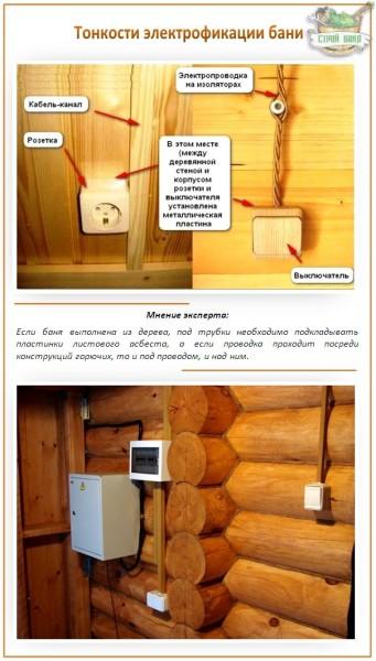 Некоторые тонкости организации электрической проводки в деревянной сауне