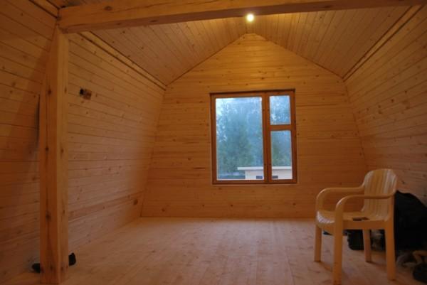 Отличная комната отдыха и прекрасный микроклимат в мансарде бани из дерева
