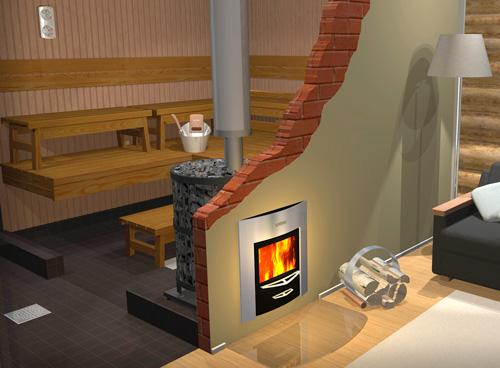 Печь с выносом топки в жилую комнату привлекательно смотрится на картинке, но в жизни такой вариант вряд ли целесообразен с точки зрения удобства и пожарной безопасности.