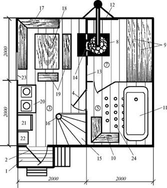 Первый этаж занимает удобная баня со всеми ее составляющими (раздевалкой, душевой, парилкой и прочими удобствами).