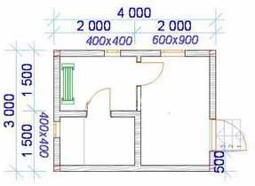 План бани 3 на 4 имеет, как правило, максимум 3 помещения, хотя часто обходятся и без предбанника (проект «А»)