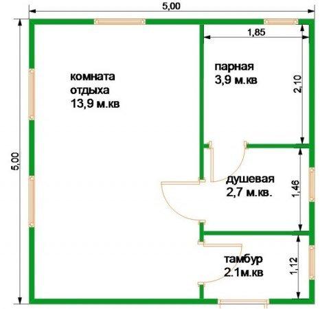 План бани 5 на 5 с большой комнатой отдыха